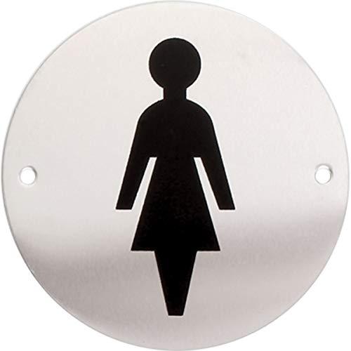 iGadgitz Home U7030 - Targa Bagno Pittogramma Toilette WC Targa Alluminio, Pittogramma Adesivo per Porta Toilette, Bagno, Lavamani, Spogliatoio, Servizi Igienici - Argento con Logo Nero - Donna