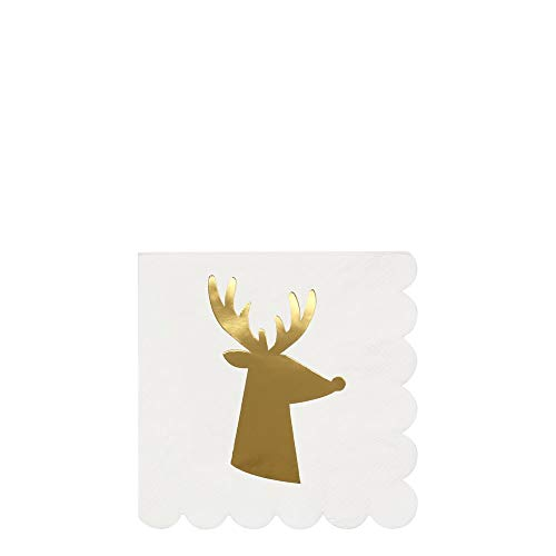 Meri Meri Gold Reindeer Small Napkins - Shiny Details with Scalloped Edges - Christmas, Holiday Themed Parties