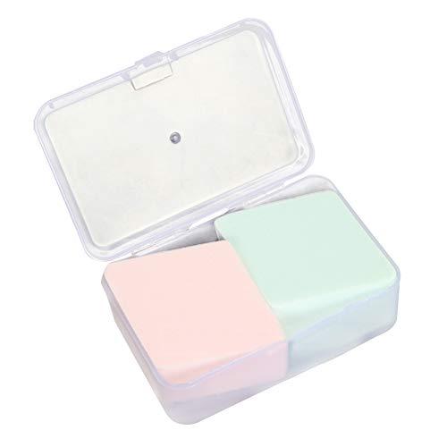 Puff de maquillage, 2pcs Cosmetic Foundation Contour de poudre de poudrage sec et humide Blender Blender Pad éponge de maquillage avec la boîte