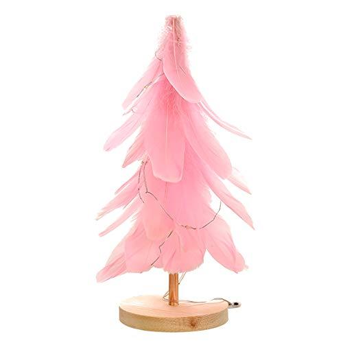 WT-DDJJK Decoración de Navidad, Adorno de árbol de Navidad de Plumas con Adorno de luz LED Decoración de Navidad de Escritorio, Ventas de Black Friday 2020