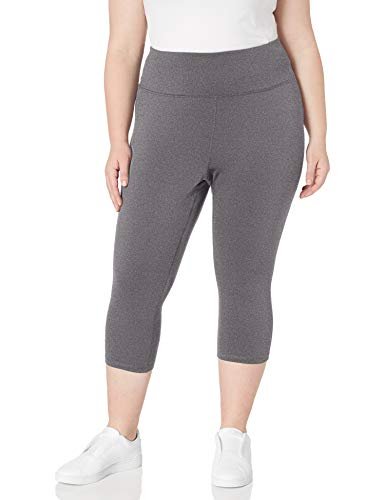 Amazon Essentials Women's Plus Size Performance High-Rise Capri Legging, Charcoal Heather, 2X