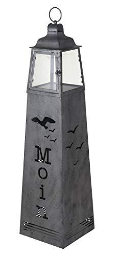 Lantaarn op een metalen zuil met begroeting Moin