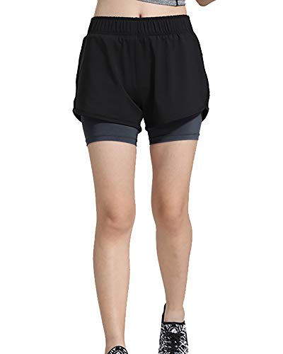Damen 2 in1 Sporthose Shorts mit Leggings Funktionstights Laufhose Gym