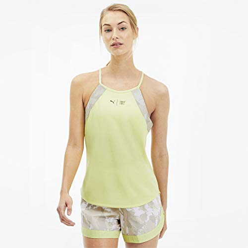 PUMA The First Mile Tank Camiseta De Tirantes, Mujer, Sunny Lime-Camo PRT, S