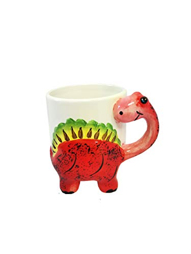 Taza de cerámica para niños con asa de dinosaurio (ROJO)