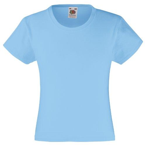 Fruit of the Loom - Maglietta 100% Cotone - Bambina (Confezione da 2) (3-4 Anni) (Azzurro Cielo)