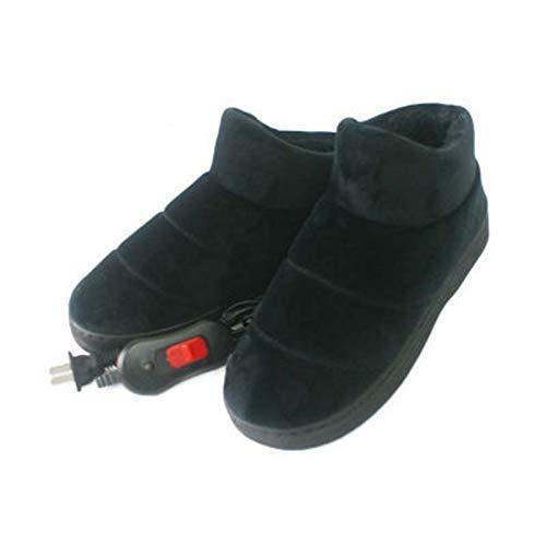 FFZW Riscaldamento Pantofola Scaldapiedi Elettrico Cotone Peluche Scaldapiedi Femminile Scarpe Termiche Plug Pantofole in Cotone Elettrico Scarpe Riscaldanti Invernali,Nero,35/37