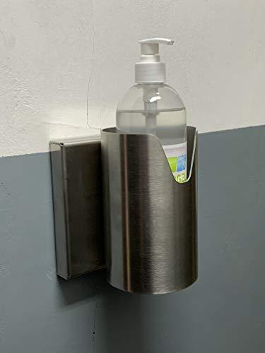 Soporte Dispensador Gel desinfectante manos en Acero inoxidable quirúrgico, especial fijación pared modelo Londres
