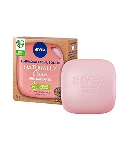 NIVEA Naturally Clean Limpiador Facial Sólido Piel Radiante (1 x 75 g), pastilla 99% de origen natural para una limpieza profunda, con extracto de rosa y vitamina E