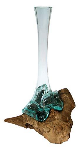Geschenk schöne 40-47 cm Deko Gamal Wurzelholz Glasvase Teak Wurzel Holz Teakholz Bali Glas Vase XL