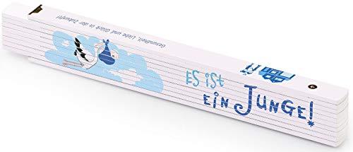 Metrie™ Kinder Wachstumszollstock |Zollstock/Zollstöcke - Gliedermaßstab | Maßstab - 2m - Natur Buche - Duplex Teilung, Hergestellt in der EU (Junge)