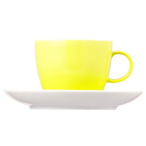 Tasse à Café et Soucoupe Thomas Sunny Day, Porcelaine, Lime Green / Vert Citron, Compatible Lave-Vaisselle, 20 cl, 2 Pièces, 14740
