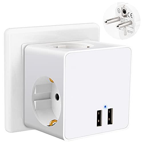 Enchufe USB, 5 en 1 Cubo Enchufe Multiple Pared - 2 Puertos USB y 3 Enchufes/Tomas de Corriente, Cargador USB Compatible con Teléfono/Computer/Pad