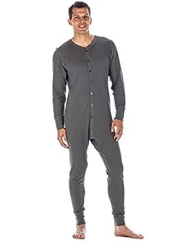 Mens Union Suit - Waffle Knit Thermal Mens Onesie Pajamas - Charcoal - Medium
