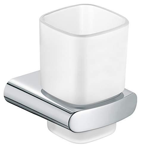 KEUCO Zahnputzbecher-Halter hochglanz-verchromt und Kristallglas matt, Glas mit Halter für Badezimmer, Zahnbürstenhalter, Wandmontage, Elegance