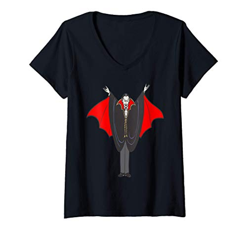Mujer Vampire Count Disfraz de truco o trato de Happy Halloween l Camiseta Cuello V