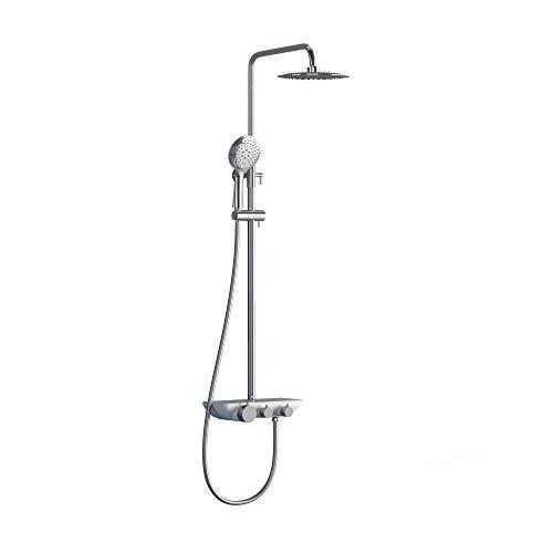 doporro Design Duschsystem Dusch-Set Silber Duschkopf Duscharmatur Regen-dusche DIN-Anschlüsse