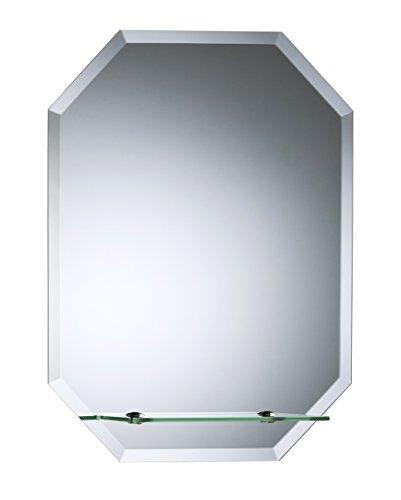Schöner achteckiger Badezimmerspiegel mit Ablage, modern und stylish, mit abgerundeten Kanten, Wandbefestigung, Badspiegel, Wandspiegel, Spiegel 60cm x 45cm