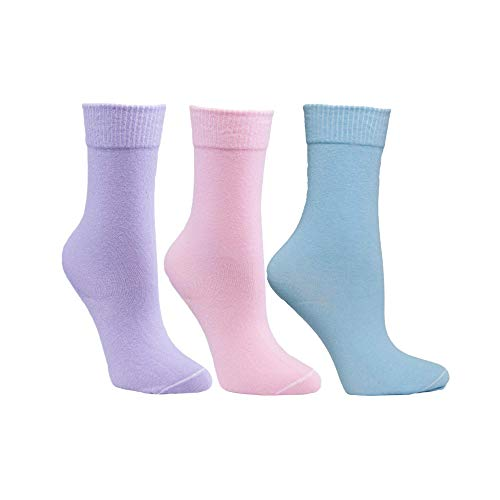 Diabetic Socks for Women by Sugar Free Sox - Maximize Circulation & Comfort - Womens Sock Size 9-11 - Pink/Lavender/Baby Blue Crew Assorted 3 Pack