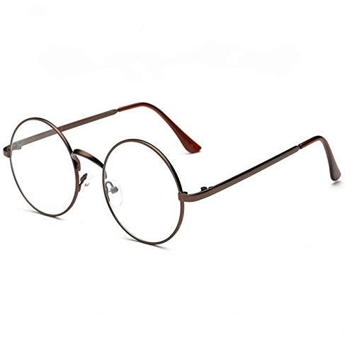 TYJYY Gafas de Sol Estilo Retro Unisex Vintage Marco De Metal Redondo Gafas con Lentes Transparentes Gafas Ópticas Gafas Casuales Cristal Liso
