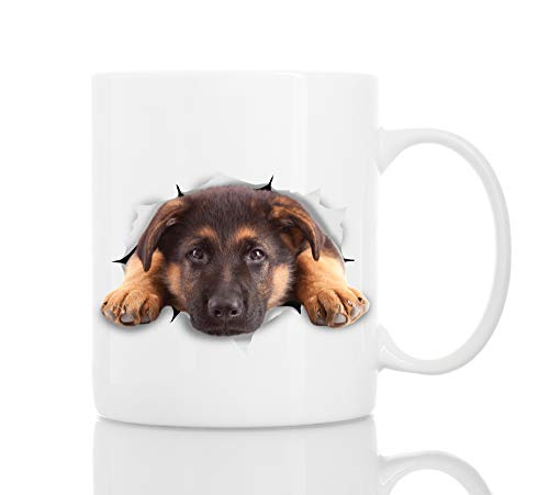 Cutest German Shepherd Dog Mug | Ceramic 11oz Funny Coffee Mug | Perfect Dog Lover Gift | Cute Novelty Coffee Mug Present | Great Birthday or Christmas Surprise for Friend or Coworker, Men and Women
