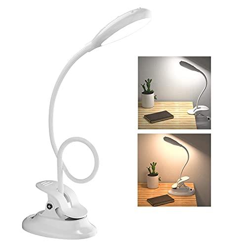VESKYAO Leselampe, 28 LED Klemmleuchte Schreibtischlampen USB Wiederaufladbare Akku, Stufenloses Dimmen & 2 Farben, 360° Flexibel Schwanenhals Kinder klemmlampe für Bett,Nachtlesen,Büro