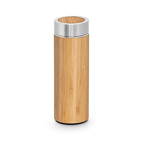 Botella Térmica de Bambú y Acero Inoxidable | Termo para Té con Filtro| Doble Pared e Infusor para Té | Capacidad 430 ml.