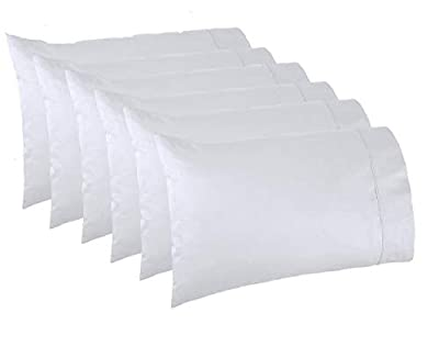 Lasimonne White Pillowcases,Pack of 6, Standard Size, 200 Thread Count Percale, CVC Pillow Cover from Lasimonne