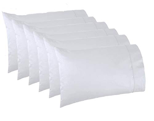 Lasimonne White Pillowcases,Pack of 6, Standard/Queen Size, 200 Thread Count Percale, CVC Pillow Cover