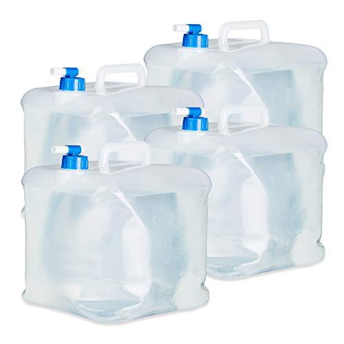 Relaxdays Jerrycan pliable carré lot de 4 camping, festival, vacances jerricane alimentaire bidon à eau 15 L sans BPA