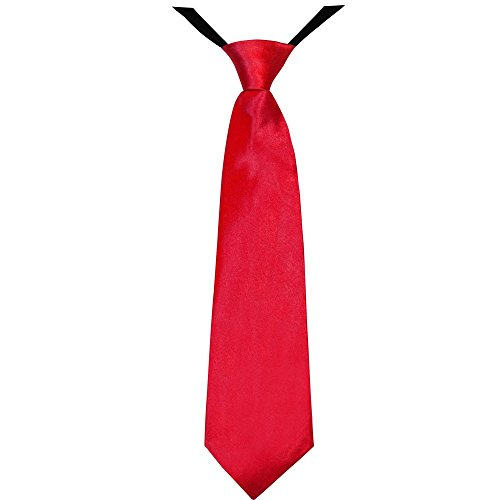 Soul-Cats® Jungen Krawatte 35 cm vorgebunden Seiden Look Hochzeit Kommunion Jugendweihe, Farbe:rot