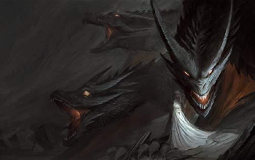 Slbtr DIY Digitale Malerei 40×50Cm - Game of Thrones Nachtkönig Und Drache -100% Handgemaltes Ölgemälde Auf Leinwand,Grundlegende Zeichenübungen Für Anfänger - Rahmenlos