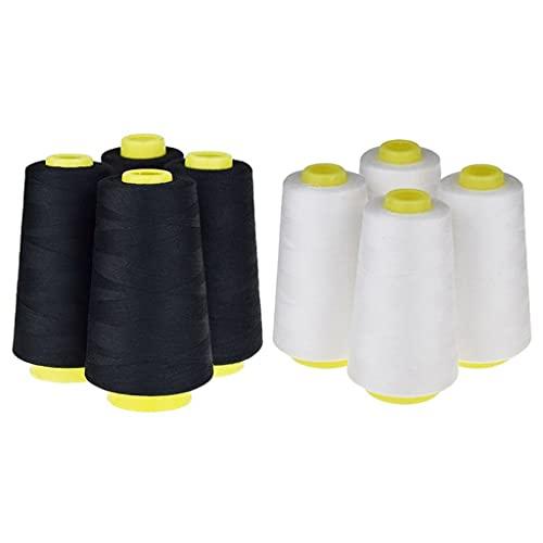 ANWUYANG Huabian 8 Conos (3000 Yardas Cada Uno) Hilos De Coser Roscas De Poliéster Espolón De Hilos (402No.) para Máquina De Coser Y Mano, 4 Conos Blancos + 4 Conos Negros
