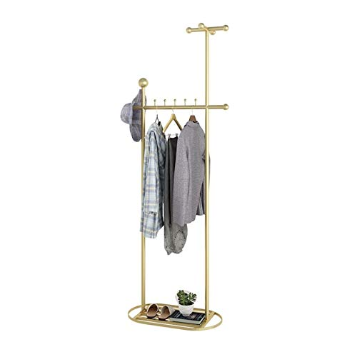 BENOHAOH Home Floor Coat Rack Living Room Entrance At The Iron Hanging Clothes Rack Bedroom Clothing Rack Multifunctional Shelves (Color : Golden)