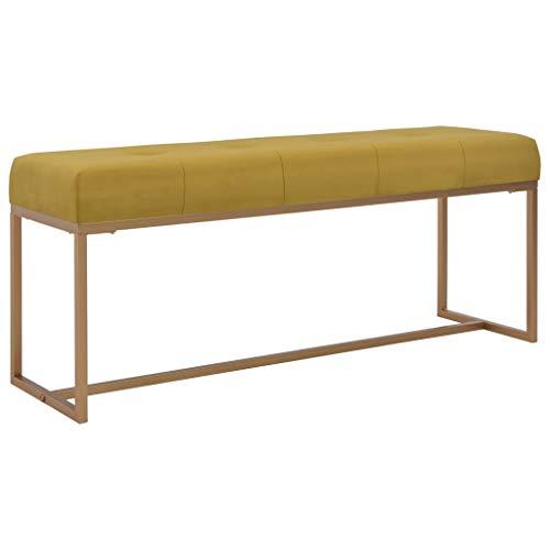 vidaXL Banco Asiento Silla Sillón Taburete Banquillo Mueble Mobiliario de Hogar Salón Cocina Bar Casa Patio 120 cm Terciopelo Mostaza