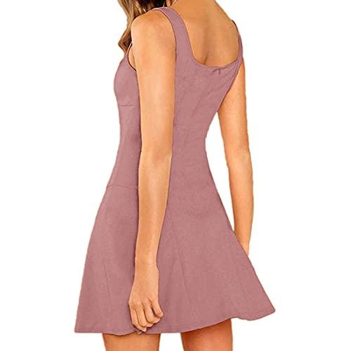 Damen Kleid Casual Quadratischer Kragen Ärmellos Kleider Camisole Minikleider Einfarbig Falten A Linie Sommerkleid Elegant Party Kleid Strandkleid