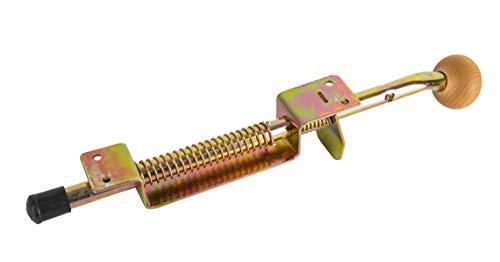 ADGO Pie de apoyo para puerta de garaje con muelle, tope de puerta galvanizado amarillo, con muelle y mango de madera con ángulo de cierre de acero (42 cm)