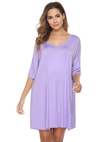 Aibrou Camisón Mujer Verano Pijama de Algodón Manga Corta Camisón Vestido Cuello en V Camisones Talla Grande