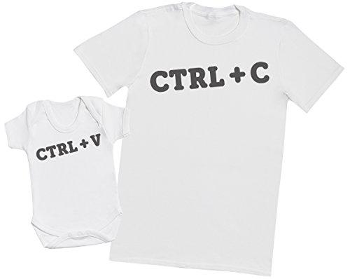 Zarlivia Clothing Ctrl C and Ctrl V - Regalo para Padres y bebés en un Cuerpo para bebés y una Camiseta de Hombre a Juego - Blanco - Large & 3-6 Meses