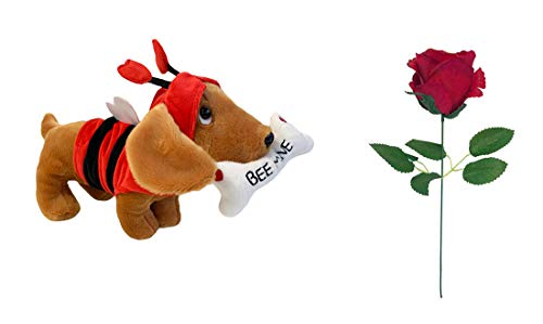 Neon Candy Valentines Soft Toy Cuddly Sausage Dog Love Bug With Red Rose For Him Her Couples Plush Gifts 26cm