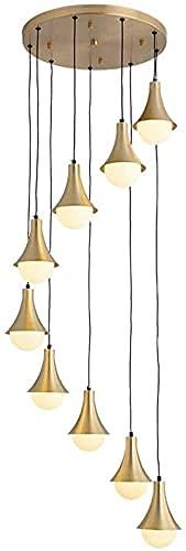 Lustre en laiton pour cage d'escalier - Lustre multi-lumières - Abat-jour en métal - Double escalier - Long lustre pour salle à manger - 9 têtes