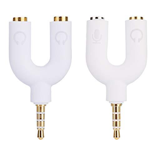 Siumir Kit Adaptador Jack de 3.5 mm 2 pcs Audio Splitter, Divisor para Auriculares Micrófono (Blanco)