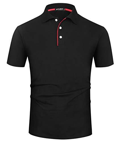 Kuson Herren Poloshirt Kurzarm Patchwork Sommer T-Shirt Men's Polo Shirt Baumwolle Schwarz 3XL