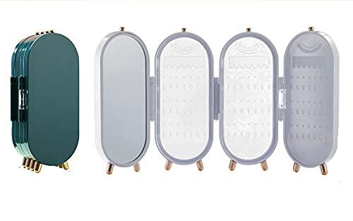 Caja de Almacenamiento Plegable de joyería Pendientes Hogar a Prueba de Polvo Gran Capacidad Estante de Almacenamiento de joyería de Moda Pantalla RetroJX51 - Verde