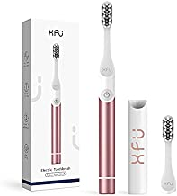 Sonic Electric Toothbrush with 2 Brush Heads for Adults and Kids, Smart Timer 2 Modes, IPX7 Waterproof, Travel Battery Powered Ultrasonic Toothbrush with case (Rose Gold)