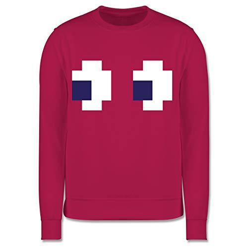 Shirtracer Karneval & Fasching Kinder - Retro Pixel Augen - 104 (3/4 Jahre) - Fuchsia - Pullover - JH030K - Kinder Pullover