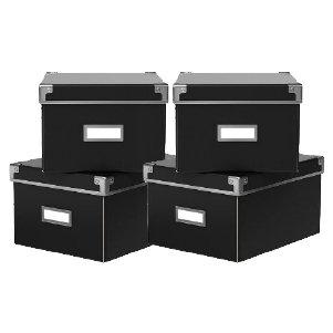 [イケア] IKEA カセット / KASSETT DVDボックス ふた付き BOX 21×26×15 cm/2 ピース × 2個セット (Black/ブラック)