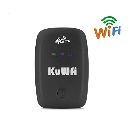 KuWFi mobiele WLAN-router, Unlocked Travel Partner 3G 4G draadloze router modem Hotspot Support LTE FDD B1/B3/B5 ondersteuning T-Mobile en E-Plus 4G router met SIM Card slot
