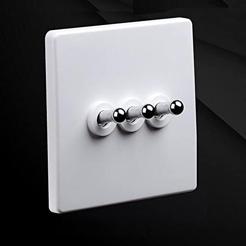 YIJIAO 86 Tipo Retro Lámpara de pared blanca Interruptor de palanca de palanca de plata 1-4 Interruptor de luz de forma de cuadrilla 10A250V