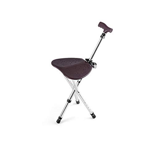 BYY Asiento plegable de bastón, taburete con asa para silla muleta, portátil, cómodo, altura ajustable, estructura principal de aleación de aluminio estable para personas mayores sentadas y caminatas